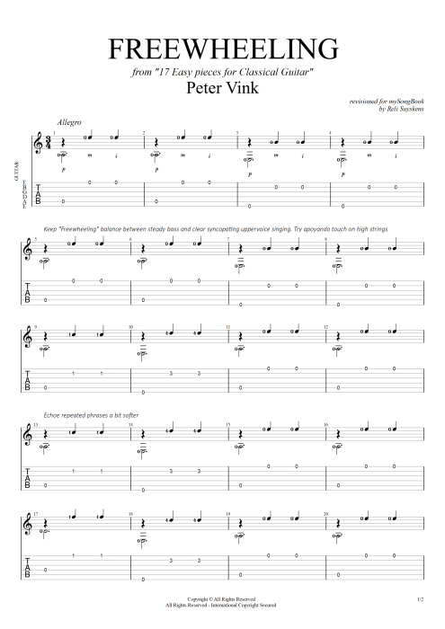 Freewheeling (from 17 easy pieces for classical guitar) - Peter Vink tablature