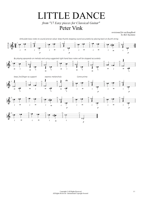 Little Dance (from 17 easy pieces for classical guitar) - Peter Vink tablature