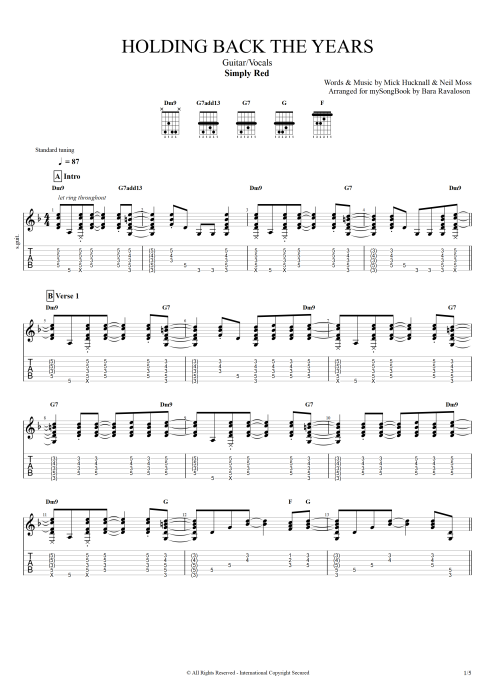 Holding Back the Years - Simply Red tablature