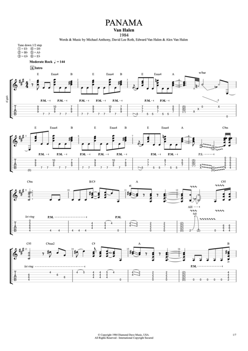 Panama - Van Halen tablature