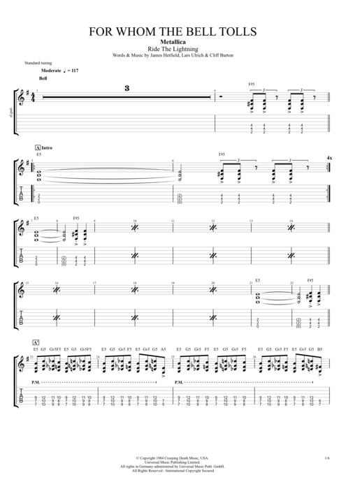 For Whom the Bell Tolls - Metallica tablature