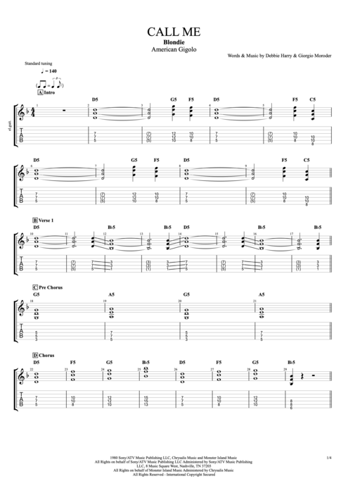 Call Me - Blondie tablature