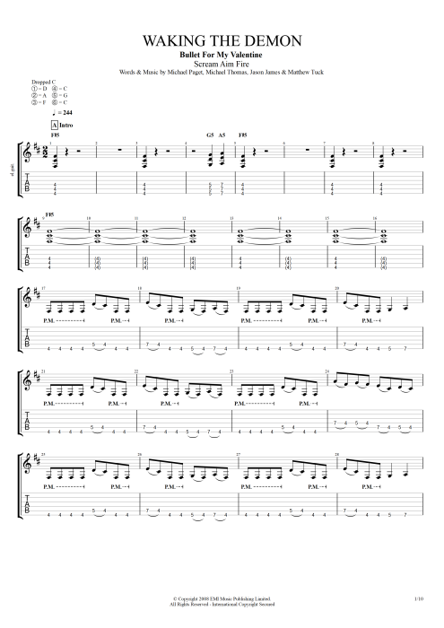 Waking the Demon - Bullet for My Valentine tablature