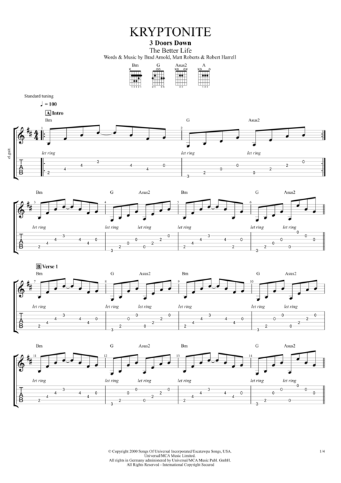Guitar kryptonite guitar tabs : Kryptonite by 3 Doors Down - Full Score Guitar Pro Tab ...
