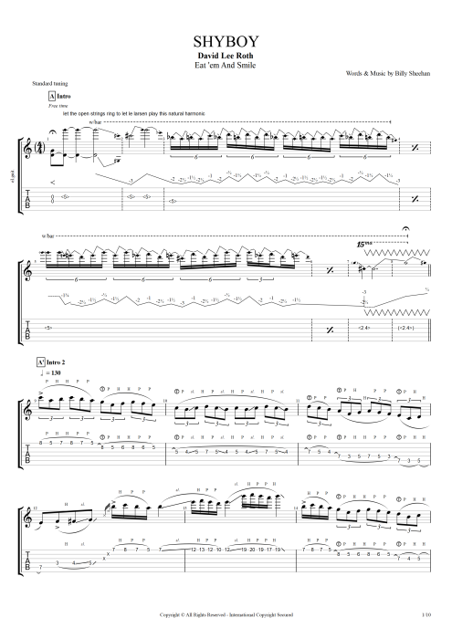 Shyboy - David Lee Roth tablature