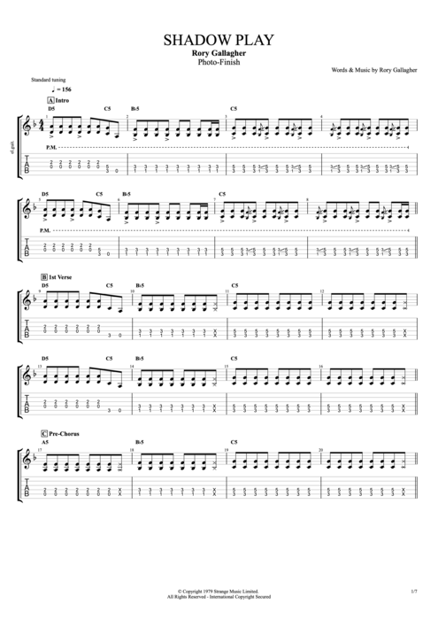 Shadow Play - Rory Gallagher tablature