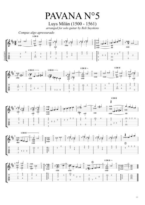 Pavana no.5 - Luis de Milán tablature