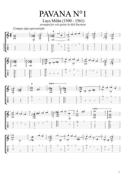 Pavana no.1 - Luis de Milán tablature