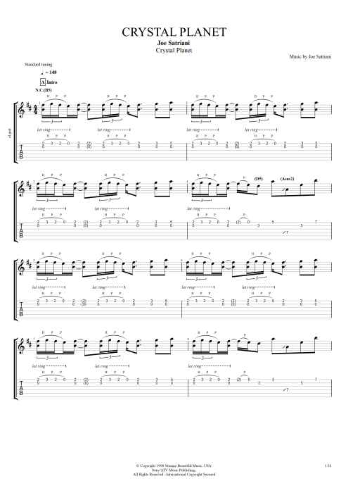 Crystal Planet - Joe Satriani tablature