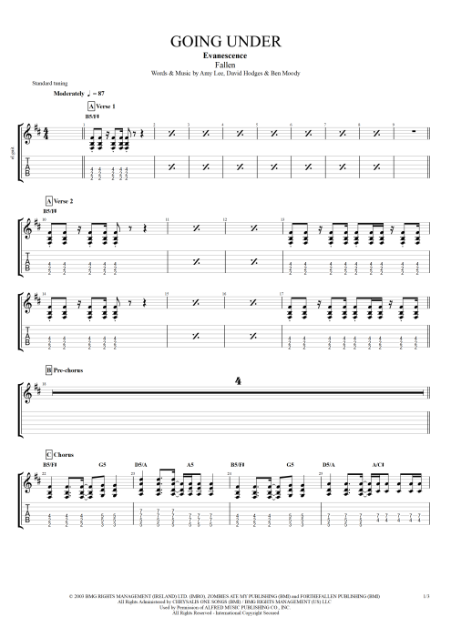Going Under - Evanescence tablature