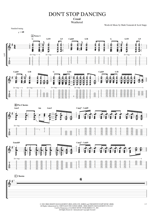 Don't Stop Dancing - Creed tablature