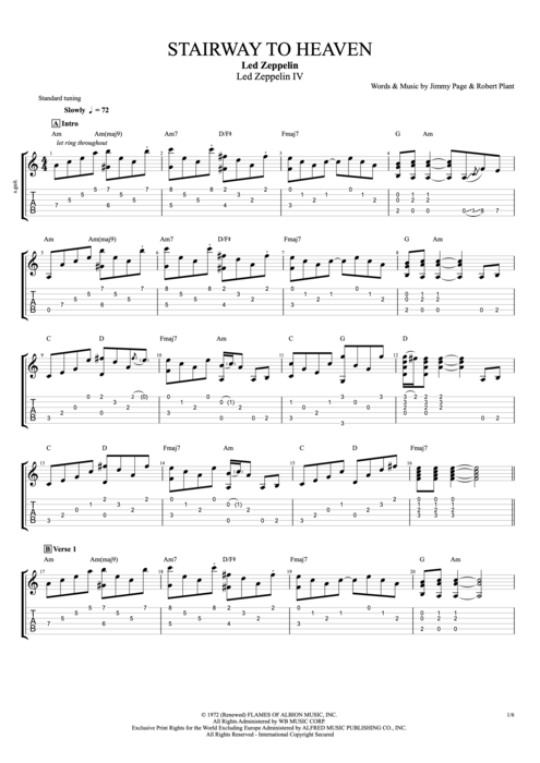 Guitar guitar tabs stairway to heaven : Stairway To Heaven Classical Guitar Sheet Music Free - 1000 ideas ...