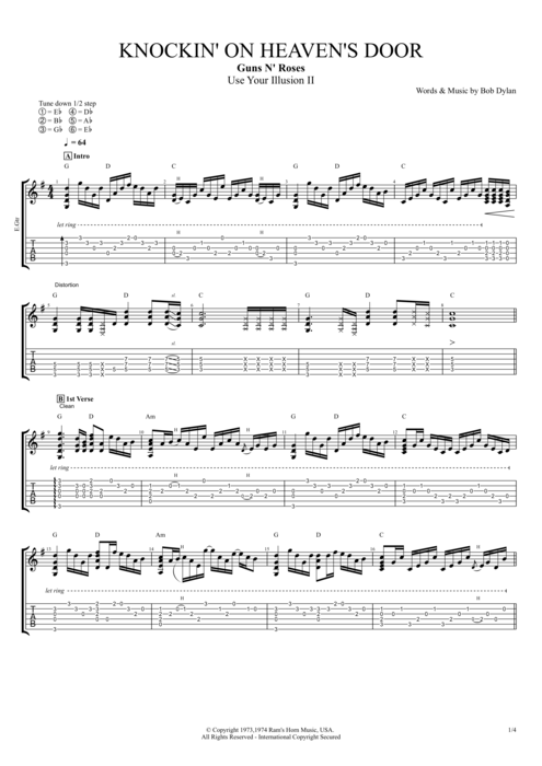 Knockin' on Heaven's Door - Guns N' Roses tablature