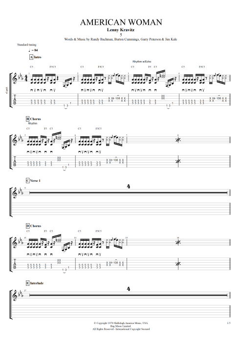 American Woman - Lenny Kravitz tablature