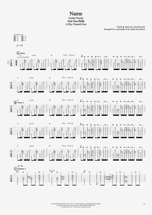 Name By Goo Goo Dolls Guitar Vocals Guitar Pro Tab