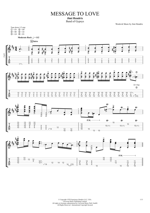 Message to Love - Jimi Hendrix tablature