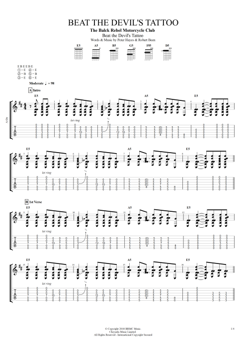 Beat the Devil's Tattoo - Black Rebel Motorcycle Club tablature