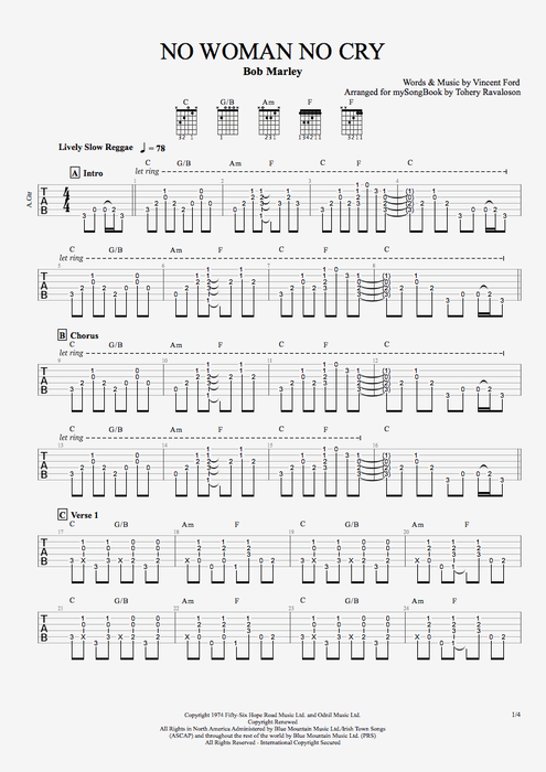No Woman, No Cry - Bob Marley tablature