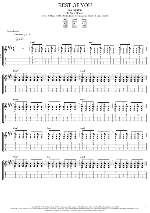 Best of You - Foo Fighters tablature