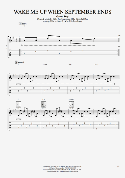 Wake Me Up When September Ends - Green Day tablature