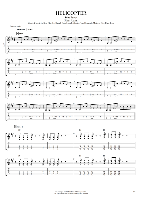 Helicopter - Bloc Party tablature