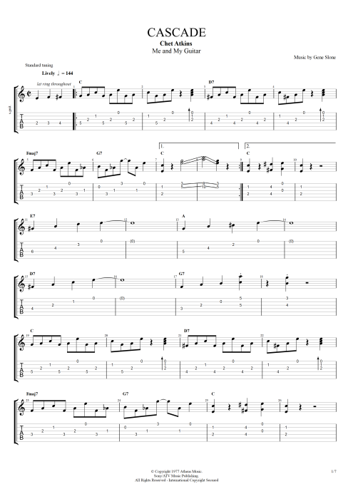 Cascade - Chet Atkins tablature
