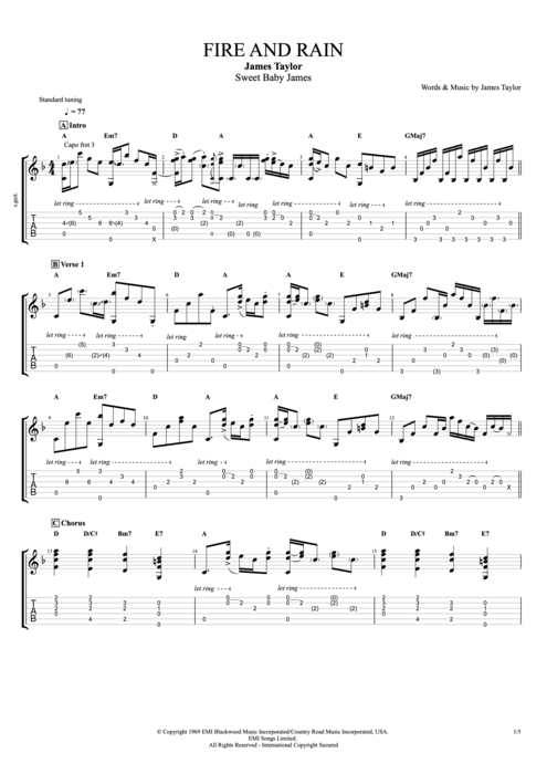 Fire and Rain - James Taylor tablature