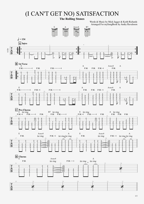 Satisfaction - The Rolling Stones tablature