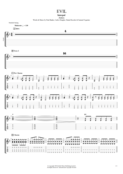 Evil - Interpol tablature