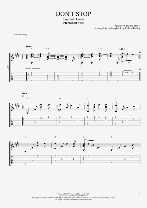 Guitar guitar tabs easy : Don't Stop by Fleetwood Mac - Easy Solo Guitar Guitar Pro Tab ...