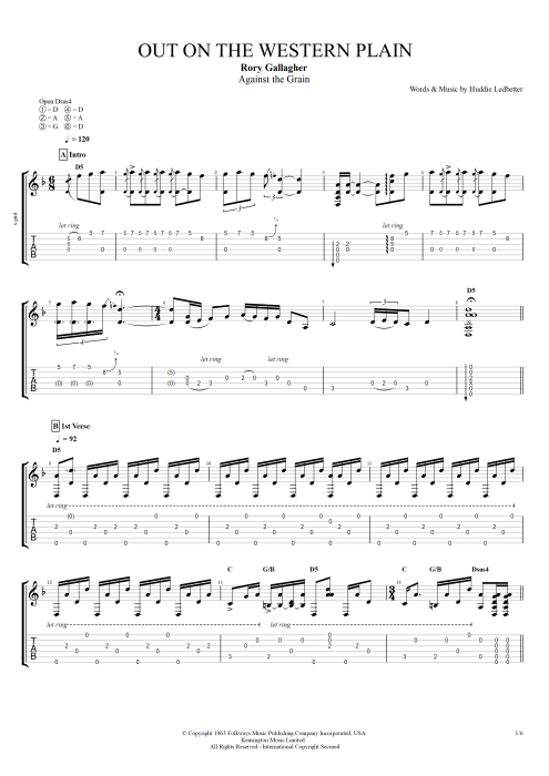 Out on the Western Plains - Rory Gallagher tablature
