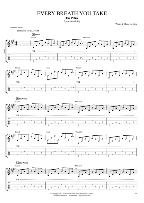 Every Breath You Take - The Police tablature