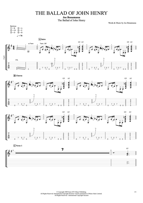 The Ballad of John Henry - Joe Bonamassa tablature