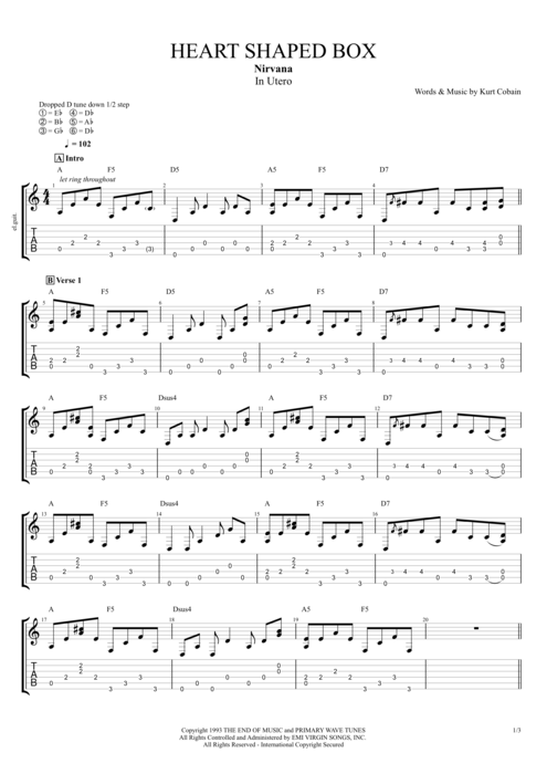 Heart Shaped Box - Nirvana tablature