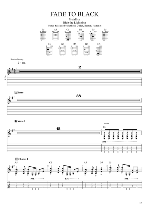 Fade to Black - Metallica tablature