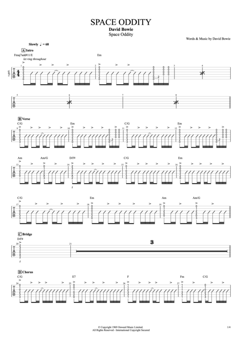 Space Oddity - David Bowie tablature
