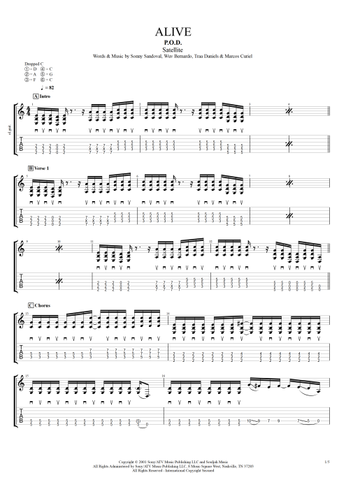 Alive - P.O.D. tablature