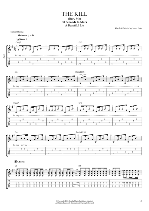 The Kill (Bury Me) - 30 Seconds to Mars tablature
