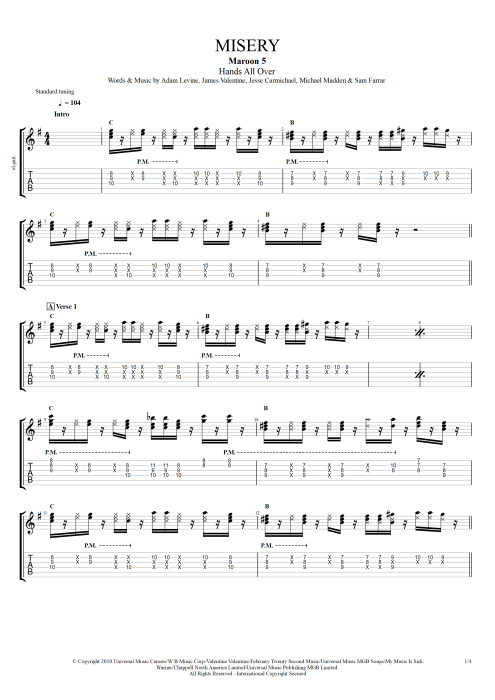 Misery - Maroon 5 tablature