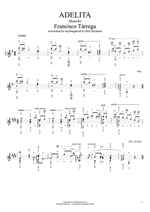 Adelita - Francisco Tarrega tablature