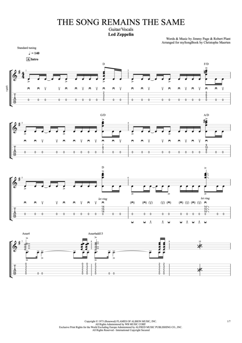 The Song Remains the Same - Led Zeppelin tablature