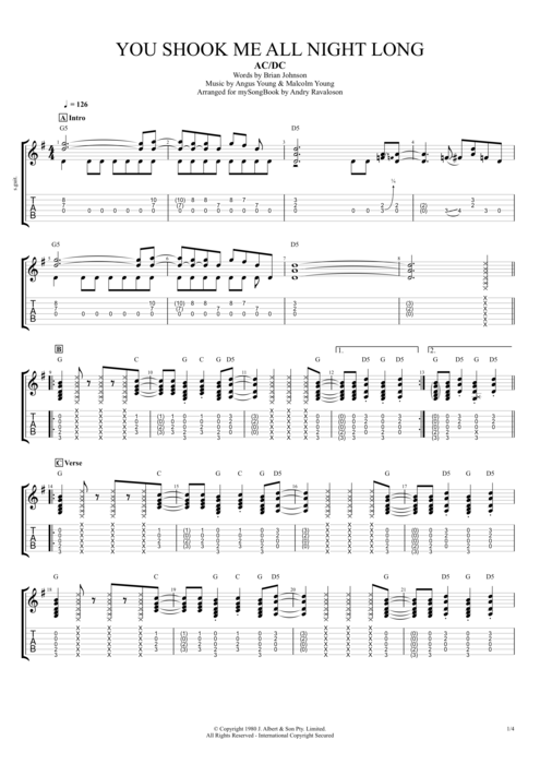 You Shook Me All Night Long - AC/DC tablature