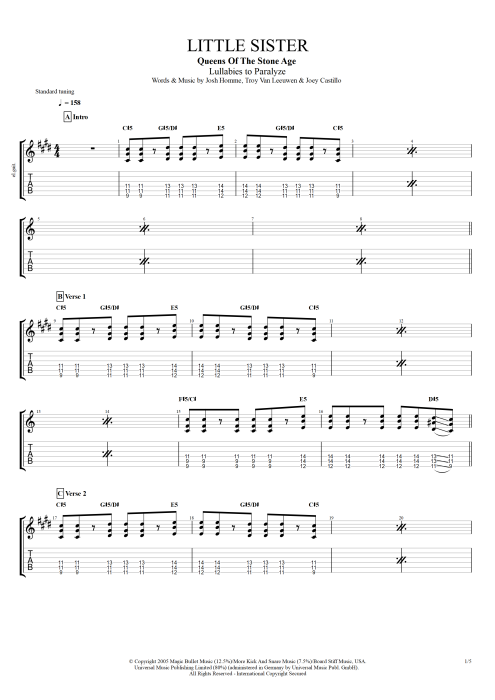 Little Sister - Queens of the Stone Age tablature