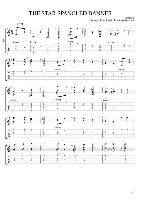 The Star-Spangled Banner - Traditional tablature