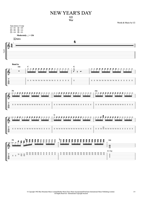 New Year's Day - U2 tablature