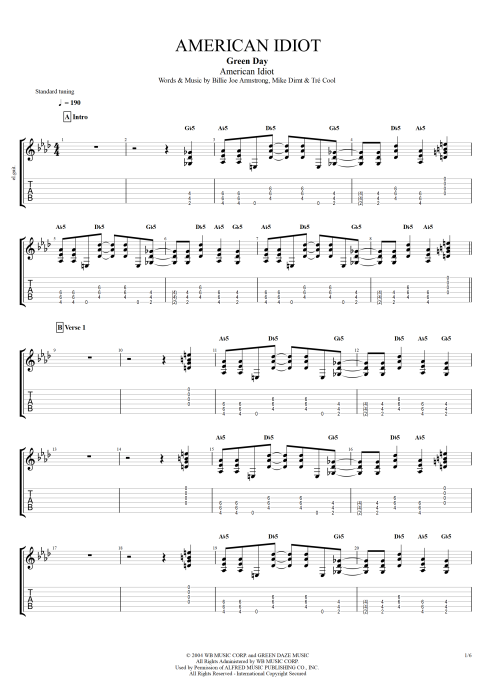 American Idiot - Green Day tablature