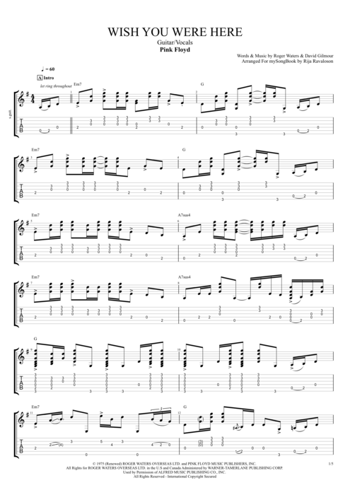 Wish You Were Here - Pink Floyd tablature