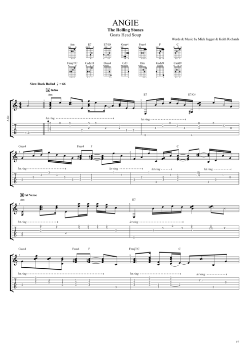 Angie - The Rolling Stones tablature
