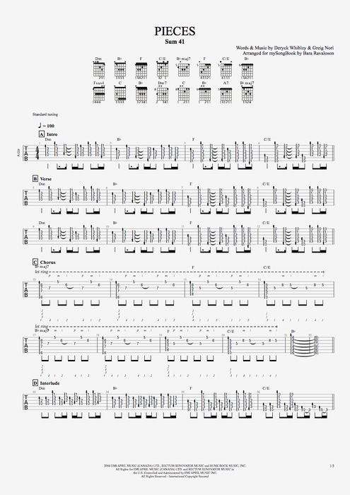 Guitar kryptonite guitar tabs : Pieces by Sum 41 - Guitar/Vocals Guitar Pro Tab | mySongBook.com