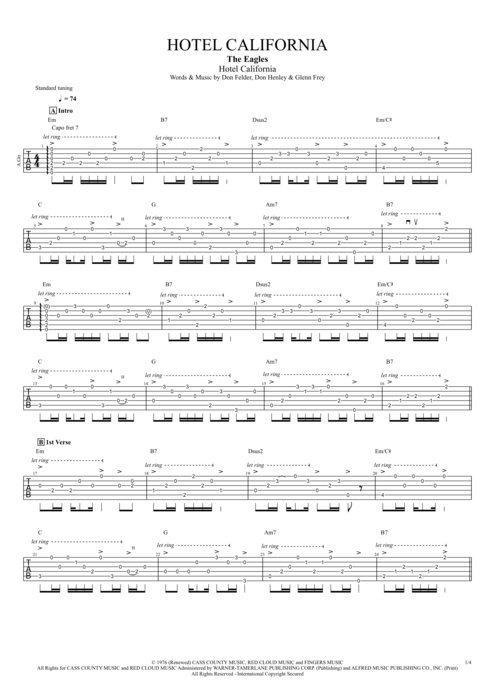 Guitar guitar tablature hotel california : Hotel California by The Eagles - Full Score Guitar Pro Tab ...